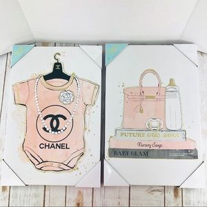 CHANEL Baby Pink Canvas Wall Art Set Oliver Gal